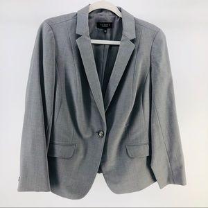 Talbots Single Button Wool-Blend Blazer in Grey